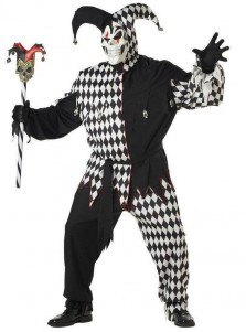Evil Jester Adult Halloween Costume With Masked Plus Size Custome