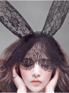 Lace Bunny Ears Veil Handbands Mask