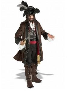 New Arrival Mens Deluxe Jack Sparrow Pirate Buccaneer Fancy Dress Costume