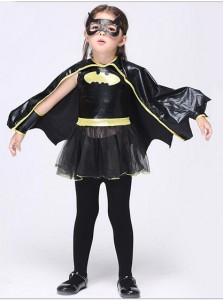 Children's Halloween Black Batman Costume for Girls