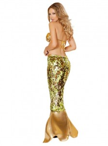 Sexy Mermaid Cosplay Costume Adult Halloween Fancy Dress Bra+Dress
