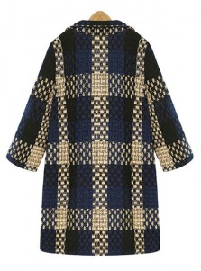 Modern Lapel Plaid Long Loose Women Overcoat