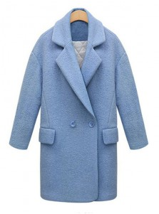 Women Lapel Long Sky Blue Long Overcoat With Pockets