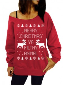 Women's X-mas Christmas Off Shoulder Long Sleeves Pullover Hoodies