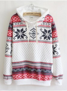 Casual Hooded Long Sleeves Mid-Length Print Christmas Hoodies For Women
