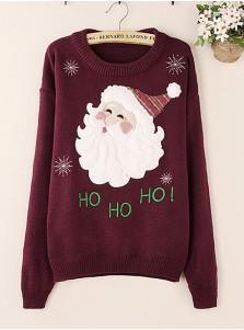 Casual Red Wine Snowflake Santa Claus Print Women Christmas Seaters