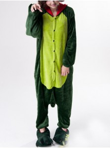 Cute Flannel Dinosaur One-pieces Women Pajamas Animal Cosplay Sleepwear