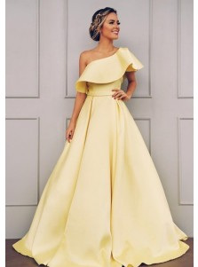 A-line One-Shoulder Short Sleeves Floor Length Yellow Satin Prom Dress with Belt