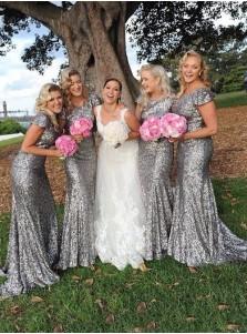 Sheath Scoop Cap Sleeves Sweep Train Silver Sequined Bridesmaid Dress