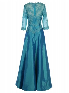 Sheath Square 3/4 Sleeves Turquoise Satin Dress with Appliques