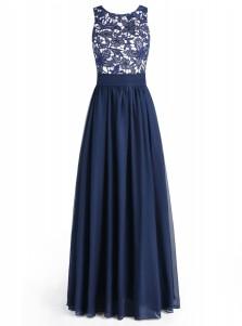 A-Line Bateau Floor-Length Navy Blue Chiffon Dress with Lace