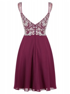 A-Line Straps Short Empire Maroon Chiffon Dress with Beading
