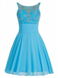 A-Line Bateau Lace-up Short Blue Chiffon Dress with Beading