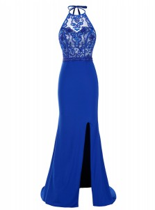 Sheath Halter Sweep Train Royal Blue Elastic Satin Dress with Beading