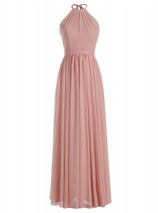 A-Line Round Neck Floor-Length Blush Chiffon Dress with Sash