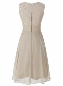 A-Line Bateau Short Light Champagne Chiffon Dress with Lace Ruffle