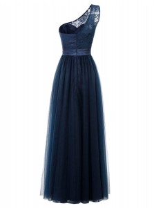 A-Line One Shoulder Floor-Length Dark Navy Tulle Dress with Sash Lace