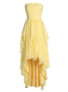 High Low Strapless Ruched Yellow Tiered Chiffon Dress