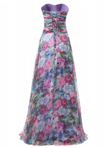 A-Line Sweetheart Floor-Length Ruched Floral Chiffon Dress