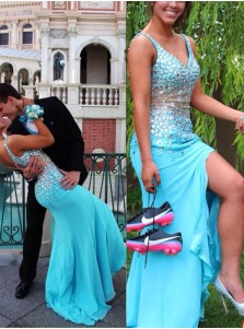Mermaid V-Neck Sweep Train Blue Chiffon Prom Dress With Beading