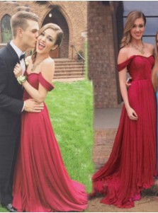 A-Line Off-the-Shoulder Sweep Train Burgundy Chiffon Prom Dress With Ruched