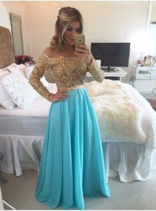 Fabulous Off Shoulder Floor-length Chiffon Beading Illusion Sleeves Prom Dress
