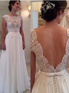 Elegant Bateau Backless Long Chiffon Wedding Dress with Lace Top Sash