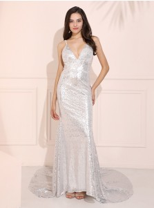 Mermaid V-Neck Sparkle Evening Dress Silver Long Prom Dress