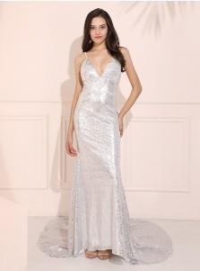 Mermaid V-Neck Sparkle Evening Dress Silver Long Prom Dress