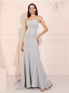 Mermaid Spaghetti Straps Glitter Long Prom Dress Silver Evening Dress