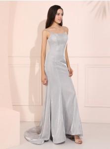 Mermaid Spaghetti Straps Glitter Long Prom Dress Silver Evening Dress