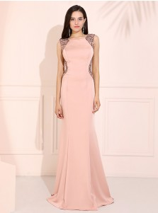 Mermaid Round Neck Pink Prom Dress Open Back Evening Dress