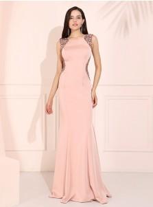 Mermaid Round Neck Pink Prom Dress Open Back Evening Dress