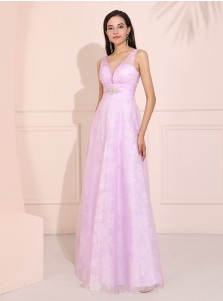 Plunge A-Line Long Lavender Organza Prom Dress with Beading