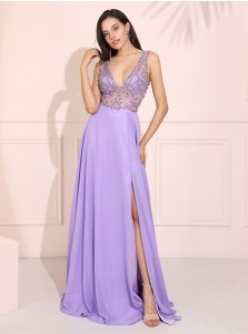 Plunge Long Chiffon Prom Dress Deep V-Neck Evening Dress with Beading