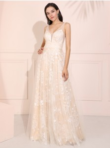 Ivory V-Neck Backless Prom Dress Sleevless Evening Dress with Lace