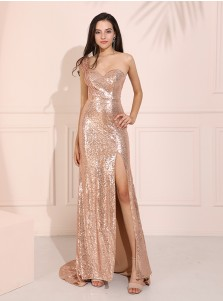 Mermaid One-Shoulder Champagne Long Prom Dress Sparkle Evening Dress