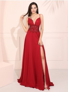 Glamorous Red Spaghetti Straps Prom Dress Long Backless Evening Dress