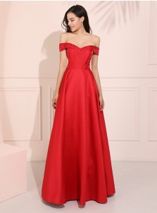 Off-the-Shoulder Red Long Prom Dress Elegant Satin Party Dress