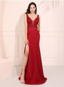 Backless Sheath Long Prom Dress V-neck Sark Red Evening Dress