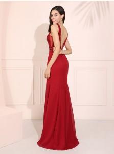 Backless Sheath Long Prom Dress V-neck Sark Red Evening Dress