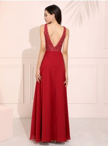 Dark Red Round Neck Long Prom Dress Chiffon Backless Evening Dress