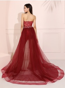 Detachable Sweetheart Long Prom Dress Dark Red Sexy Evening Dress
