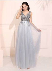 V-neck Beaded Long Prom Dress Blue Backless Evening Dress