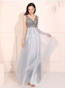 V-neck Beaded Long Prom Dress Blue Backless Evening Dress