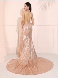 Halter Glitter Long Prom Dress Backless Champagne Evening Dress