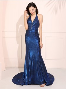 Halter Mermaid Long Prom Dress Blue Backless Evening Dress
