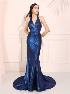 Halter Mermaid Long Prom Dress Blue Backless Evening Dress