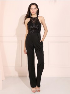 Black Round Neck Open Back Patchwork Prom Formal Jumpsuit