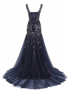 Mermaid Scoop Sweep Train Navy Blue Tulle Dress with Beading